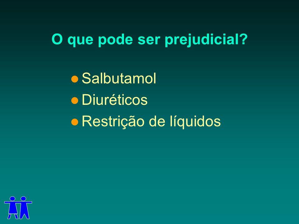 O que pode ser prejudicial? Salbutamol Diuréticos Restrição de líquidos