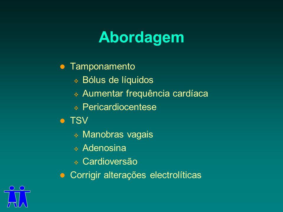 Abordagem Tamponamento Bólus de líquidos Aumentar frequência cardíaca Pericardiocentese TSV Manobras vagais Adenosina Cardioversão Corrigir alterações
