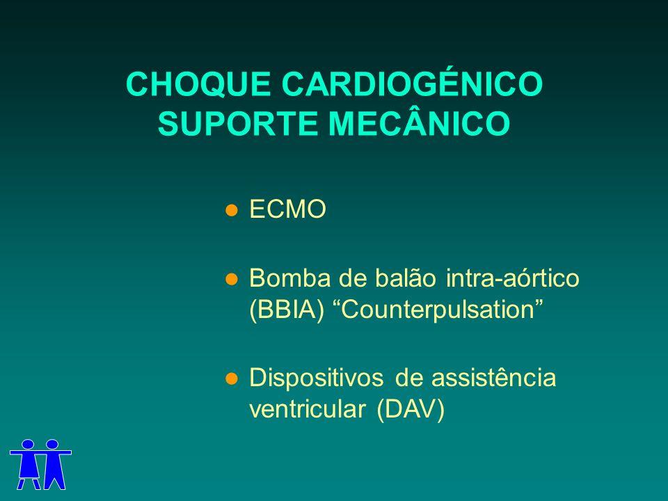 CHOQUE CARDIOGÉNICO SUPORTE MECÂNICO ECMO Bomba de balão intra-aórtico (BBIA) Counterpulsation Dispositivos de assistência ventricular (DAV)
