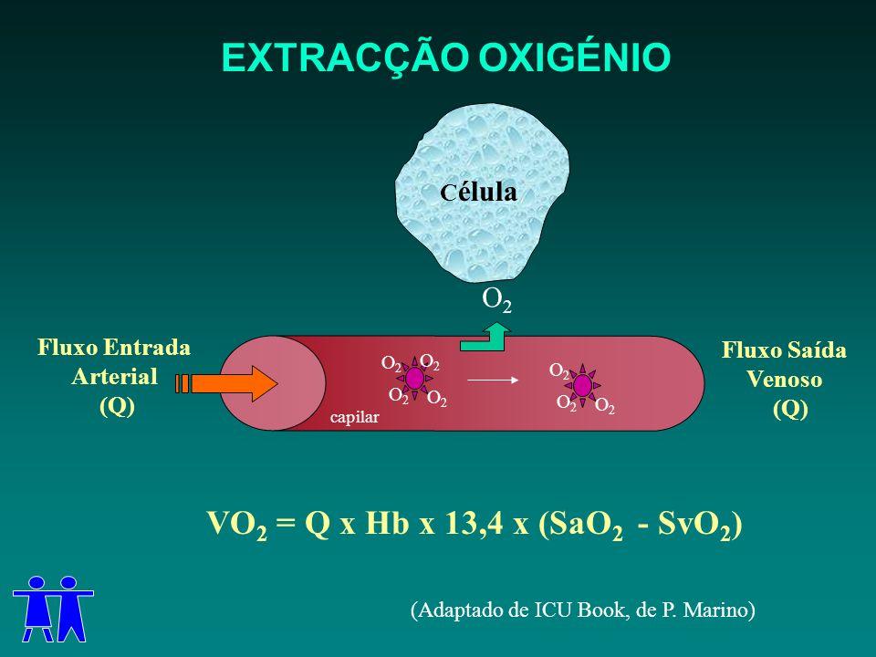 EXTRACÇÃO OXIGÉNIO VO 2 = Q x Hb x 13,4 x (SaO 2 - SvO 2 ) Fluxo Entrada Arterial (Q) capilar O2O2 O2O2 O2O2 O2O2 O2O2 O2O2 O2O2 Fluxo Saída Venoso (Q