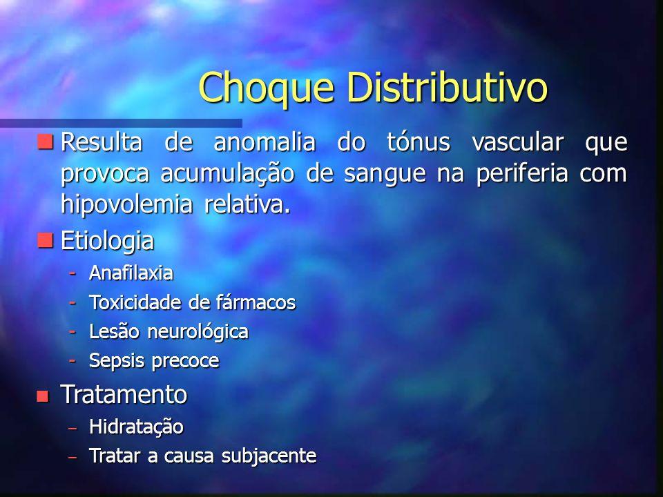 Choque Distributivo nResulta de anomalia do tónus vascular que provoca acumulação de sangue na periferia com hipovolemia relativa.