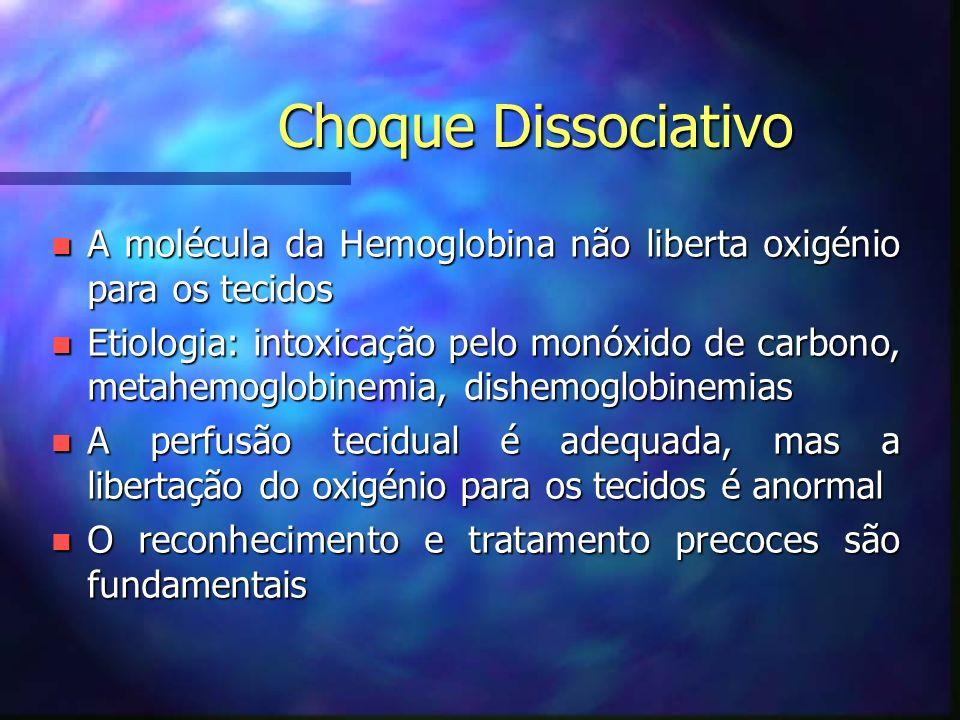 Choque Dissociativo n A molécula da Hemoglobina não liberta oxigénio para os tecidos n Etiologia: intoxicação pelo monóxido de carbono, metahemoglobinemia, dishemoglobinemias n A perfusão tecidual é adequada, mas a libertação do oxigénio para os tecidos é anormal n O reconhecimento e tratamento precoces são fundamentais