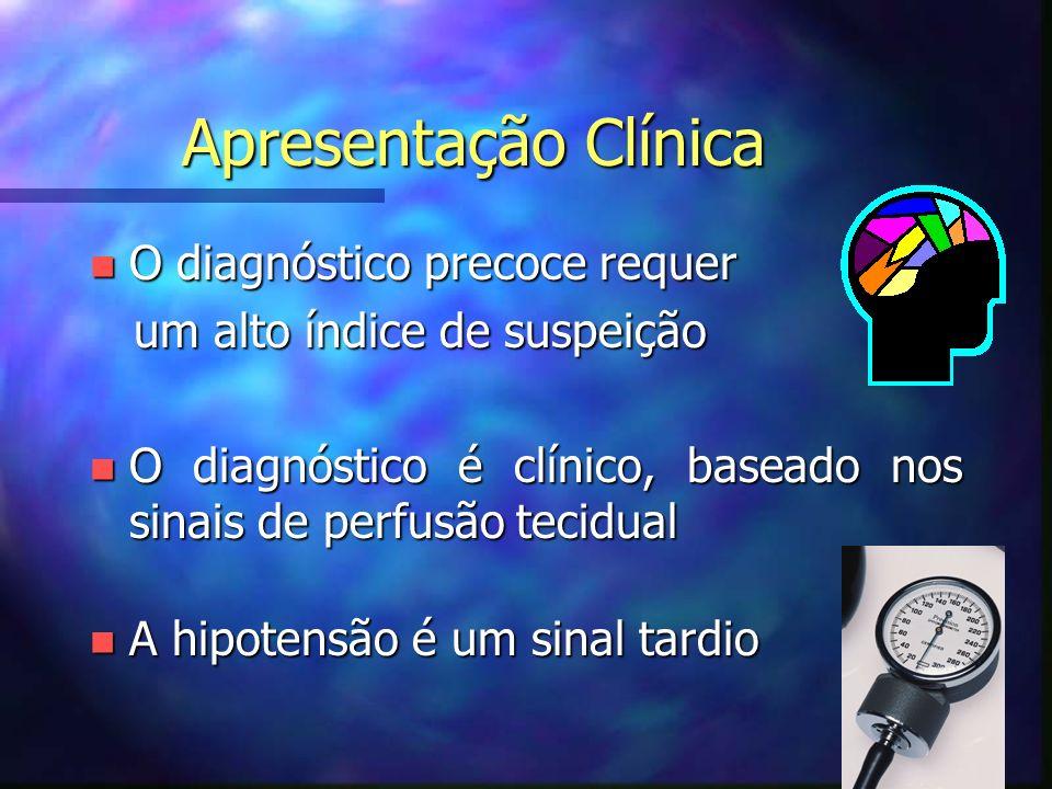 Apresentação Clínica n O diagnóstico precoce requer um alto índice de suspeição um alto índice de suspeição n O diagnóstico é clínico, baseado nos sinais de perfusão tecidual n A hipotensão é um sinal tardio