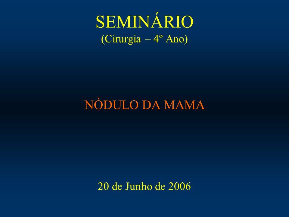SEMINÁRIO (Cirurgia – 4º Ano) NÓDULO DA MAMA 20 de Junho de 2006