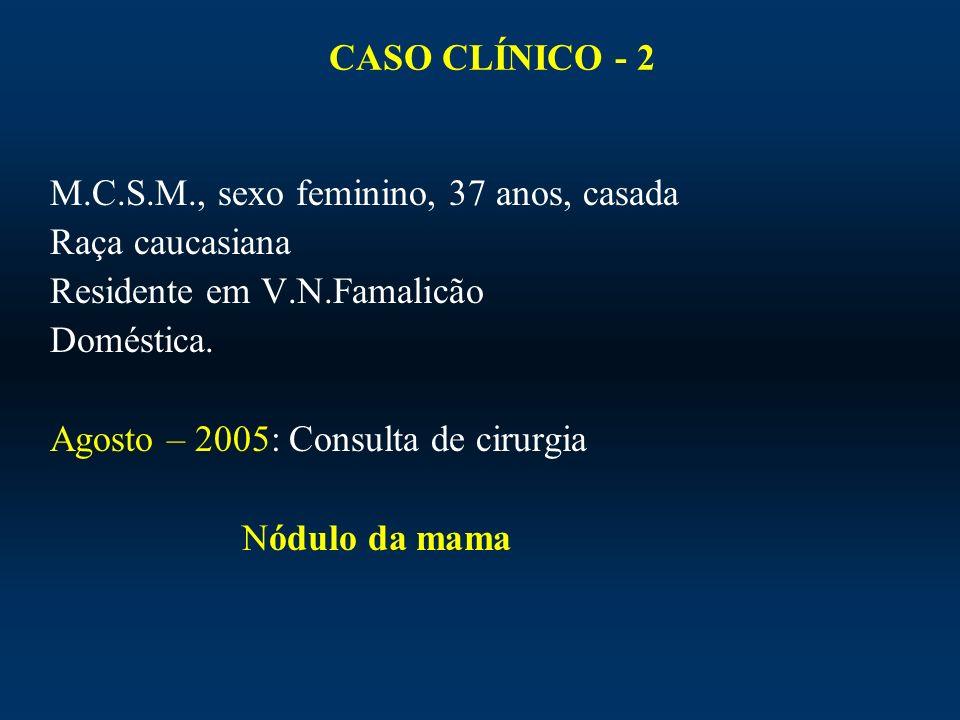 CASO CLÍNICO - 2 M.C.S.M., sexo feminino, 37 anos, casada Raça caucasiana Residente em V.N.Famalicão Doméstica. Agosto – 2005: Consulta de cirurgia Nó