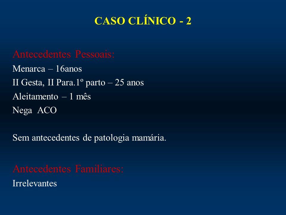 CASO CLÍNICO - 2 Antecedentes Pessoais: Menarca – 16anos II Gesta, II Para.1º parto – 25 anos Aleitamento – 1 mês Nega ACO Sem antecedentes de patolog