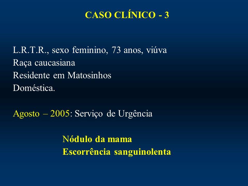 CASO CLÍNICO - 3 L.R.T.R., sexo feminino, 73 anos, viúva Raça caucasiana Residente em Matosinhos Doméstica. Agosto – 2005: Serviço de Urgência Nódulo