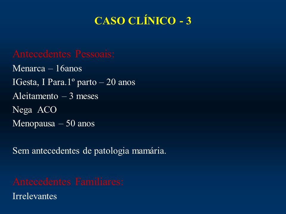 CASO CLÍNICO - 3 Antecedentes Pessoais: Menarca – 16anos IGesta, I Para.1º parto – 20 anos Aleitamento – 3 meses Nega ACO Menopausa – 50 anos Sem ante