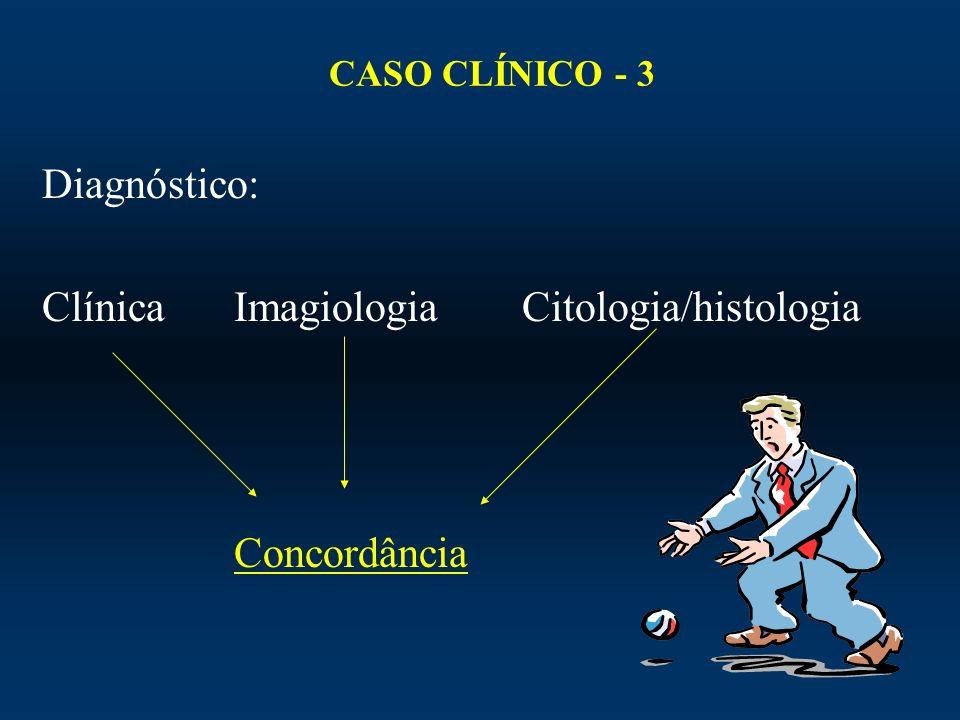CASO CLÍNICO - 3 Diagnóstico: ClínicaImagiologiaCitologia/histologia Concordância