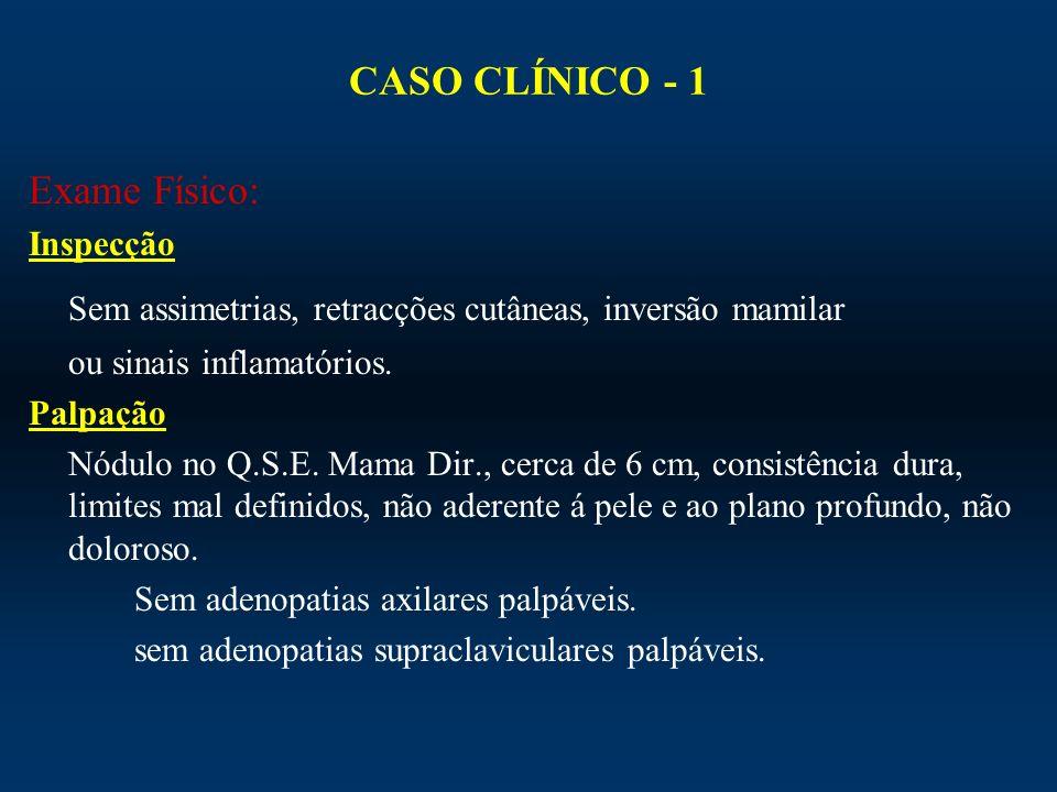 CASO CLÍNICO - 1 Exame Físico: Inspecção Sem assimetrias, retracções cutâneas, inversão mamilar ou sinais inflamatórios. Palpação Nódulo no Q.S.E. Mam
