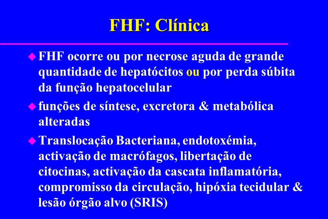 FHF: Clínica u FHF ocorre ou por necrose aguda de grande quantidade de hepatócitos ou por perda súbita da função hepatocelular u funções de síntese, e