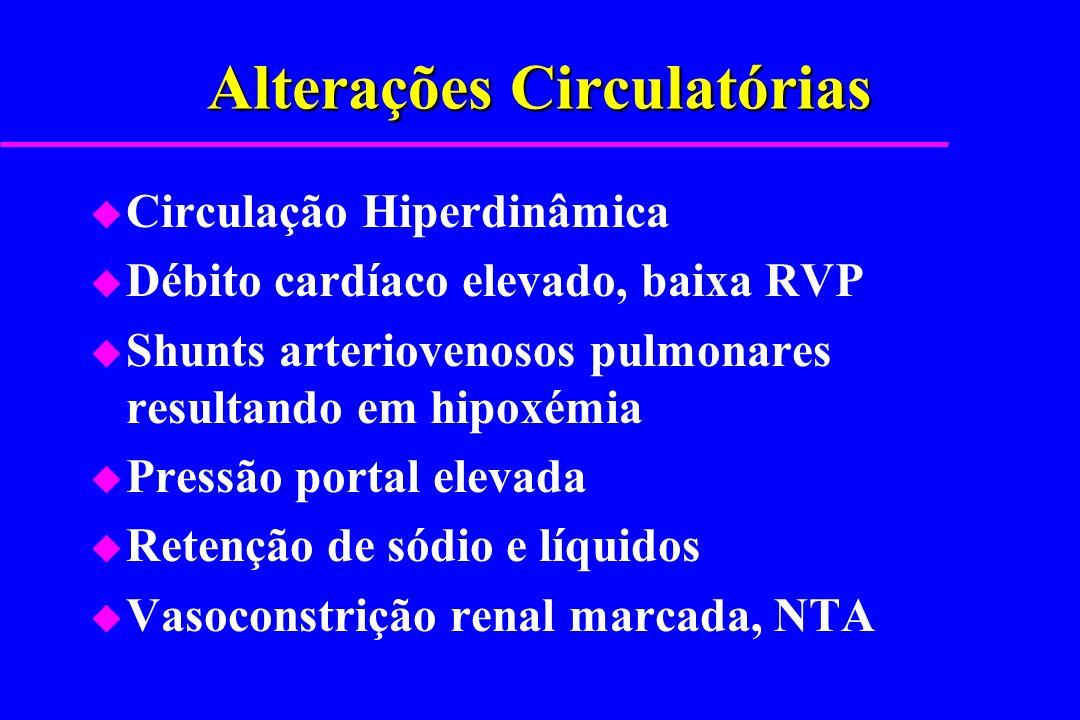 Alterações Circulatórias u Circulação Hiperdinâmica u Débito cardíaco elevado, baixa RVP u Shunts arteriovenosos pulmonares resultando em hipoxémia u