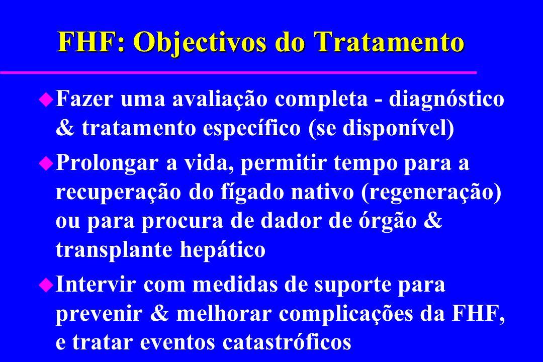 FHF: Objectivos do Tratamento u Fazer uma avaliação completa - diagnóstico & tratamento específico (se disponível) u Prolongar a vida, permitir tempo