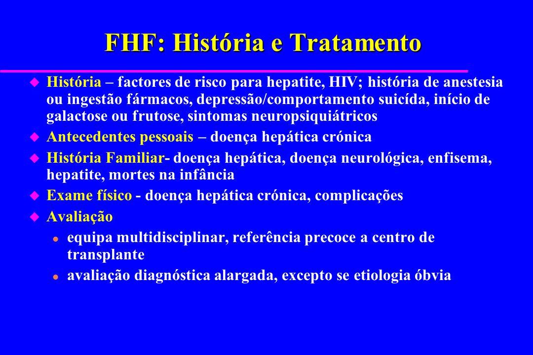 FHF: História e Tratamento u História – factores de risco para hepatite, HIV; história de anestesia ou ingestão fármacos, depressão/comportamento suic