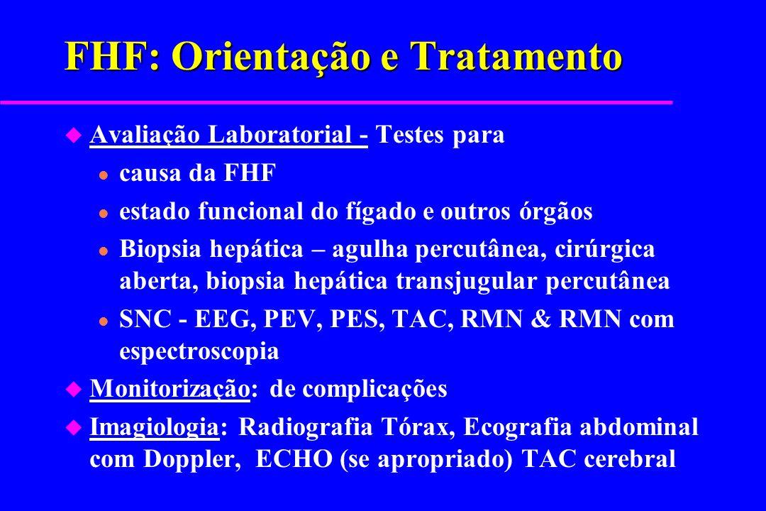 FHF: Orientação e Tratamento u Avaliação Laboratorial - Testes para l causa da FHF l estado funcional do fígado e outros órgãos l Biopsia hepática – a