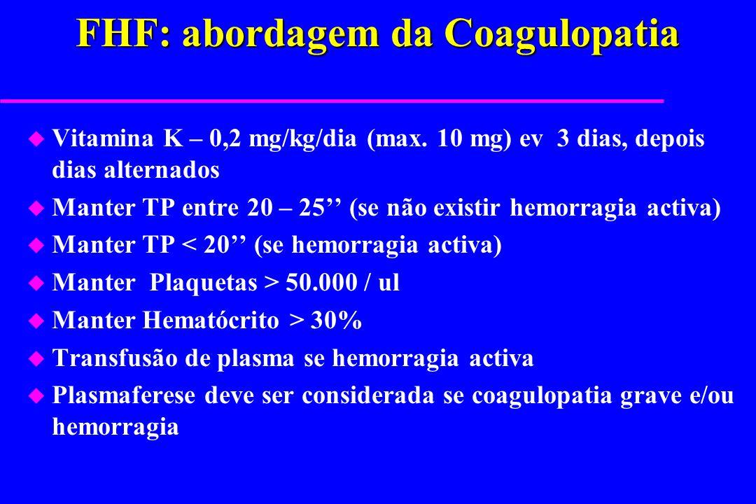 FHF: abordagem da Coagulopatia u Vitamina K – 0,2 mg/kg/dia (max. 10 mg) ev 3 dias, depois dias alternados u Manter TP entre 20 – 25 (se não existir h