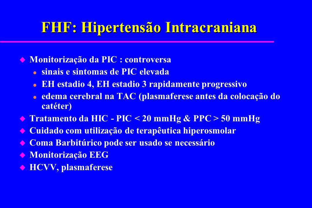 FHF: Hipertensão Intracraniana u Monitorização da PIC : controversa l sinais e sintomas de PIC elevada l EH estadio 4, EH estadio 3 rapidamente progre
