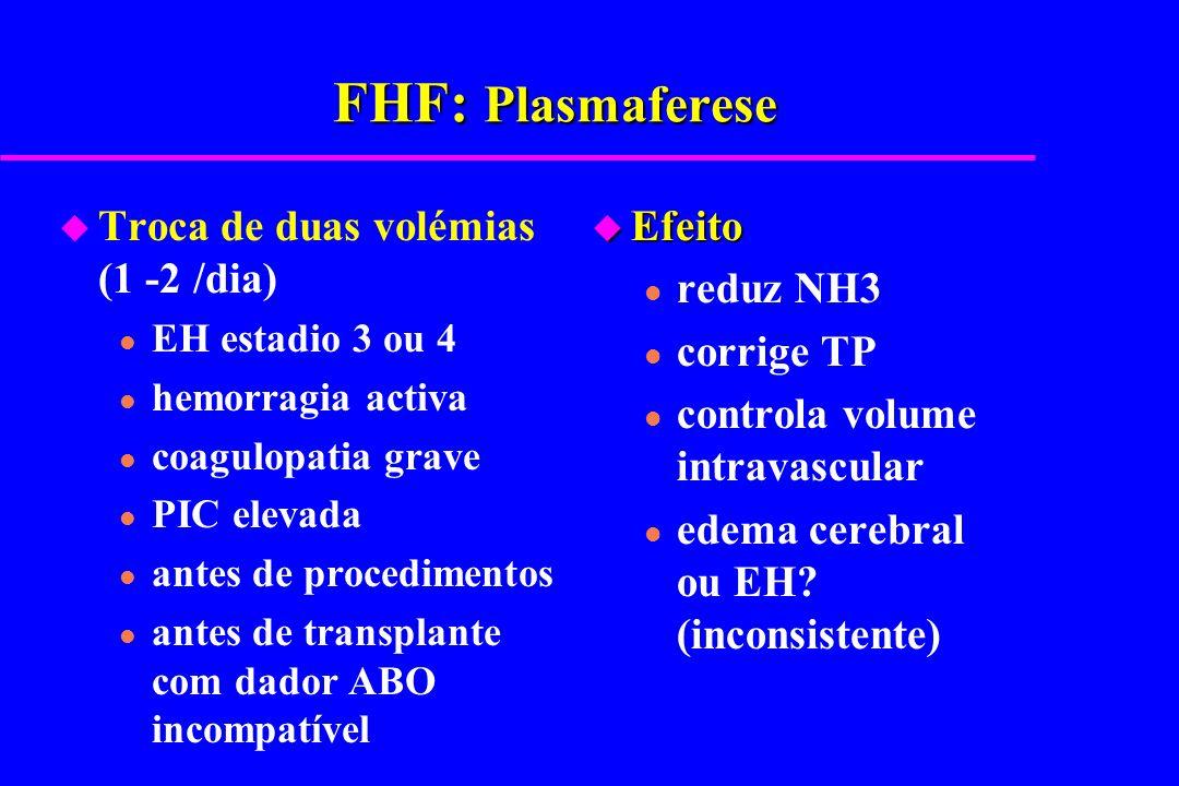 FHF: Plasmaferese u Troca de duas volémias (1 -2 /dia) l EH estadio 3 ou 4 l hemorragia activa l coagulopatia grave l PIC elevada l antes de procedime