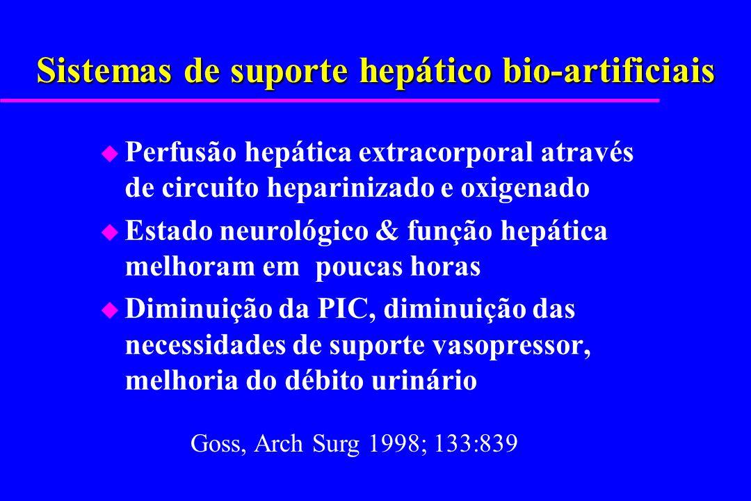 Sistemas de suporte hepático bio-artificiais u Perfusão hepática extracorporal através de circuito heparinizado e oxigenado u Estado neurológico & fun