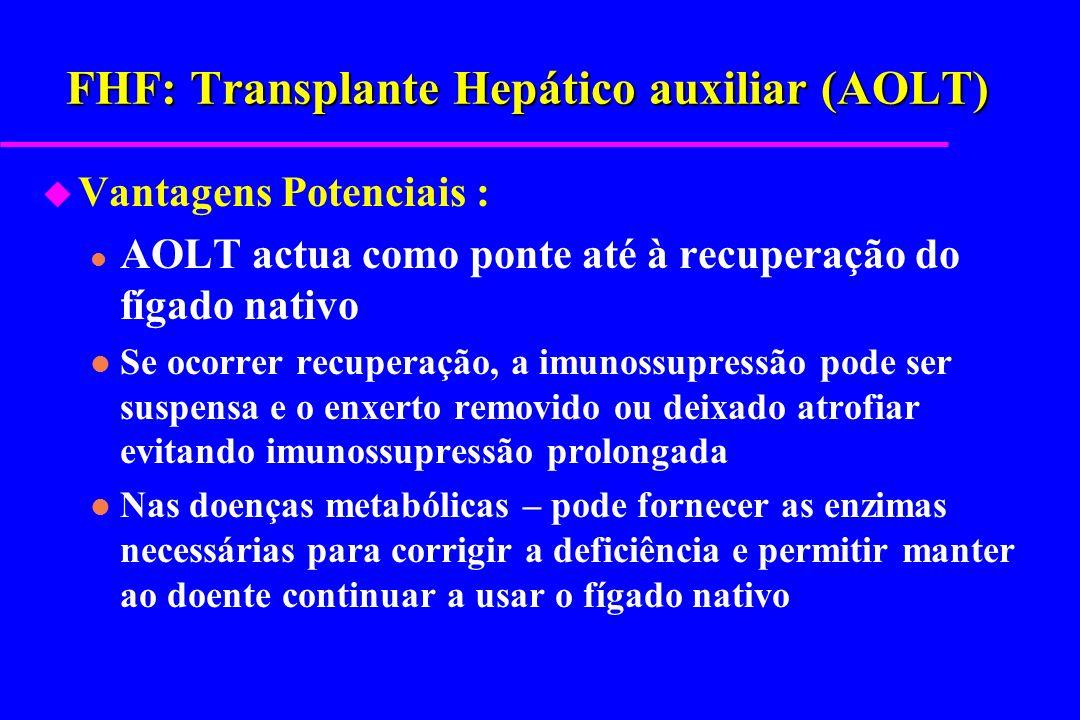 FHF: Transplante Hepático auxiliar (AOLT) u Vantagens Potenciais : l AOLT actua como ponte até à recuperação do fígado nativo l Se ocorrer recuperação