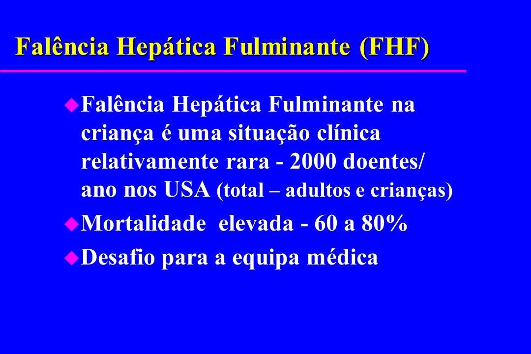 FHF: Características Clínicas u Lesão Hepática – transaminases elevadas (ALT,AST) u Disfunção Hepática l hipoglicémia l colesterol baixo l coagulopatia (TP> 20 seg.) não corrigida com vitamina K endovenosa l subida progressiva de bilirrubina l hiperamoniémia e encefalopatia u Ausência de doença hepática crónica – má-nutrição, hipertensão portal, raquitismo, aranhas vasculares, hipocratismo digital