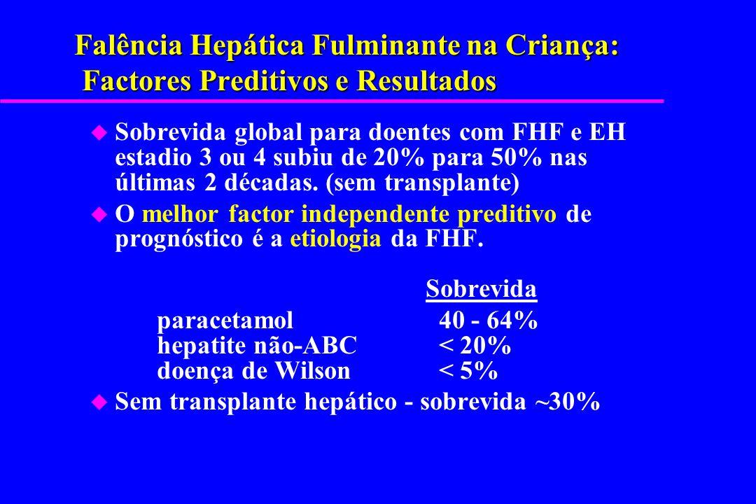 Falência Hepática Fulminante na Criança: Factores Preditivos e Resultados u Sobrevida global para doentes com FHF e EH estadio 3 ou 4 subiu de 20% par