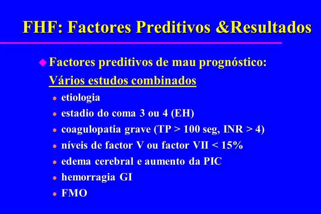 FHF: Factores Preditivos &Resultados u Factores preditivos de mau prognóstico: Vários estudos combinados l etiologia l estadio do coma 3 ou 4 (EH) l c