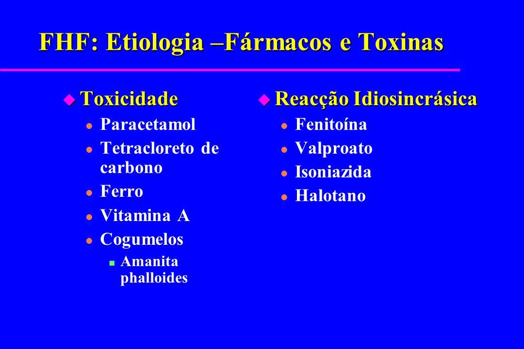 FHF: Etiologia – Doenças Metabólicas u Tirosinémia u Galactosémia u Défice de Alpha-1 antitripsina u Defeitos oxidação ácidos gordos u Doença de Wilson u Hemocromatose Neonatal u Doença Niemann-Pick u Intolerância Hereditária à Frutose u Fibrose Quística u Síndroma de Reye u Defeitos da cadeia mitocondrial de transporte de electrões u Fígado gordo da gravidez