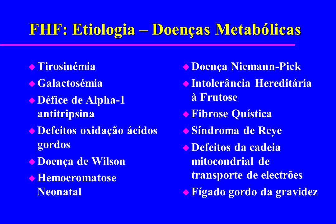 FHF: Etiologia – Doenças Metabólicas u Tirosinémia u Galactosémia u Défice de Alpha-1 antitripsina u Defeitos oxidação ácidos gordos u Doença de Wilso