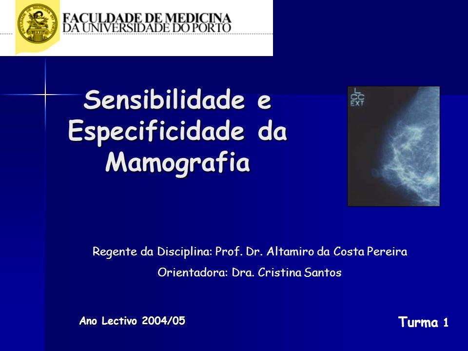 Sensibilidade e Especificidade da Mamografia Ano Lectivo 2004/05 Regente da Disciplina: Prof. Dr. Altamiro da Costa Pereira Orientadora: Dra. Cristina
