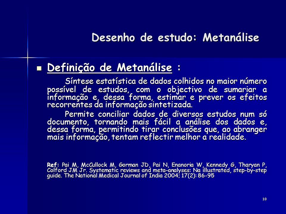 10 Definição de Metanálise : Definição de Metanálise : íntese estatística de dados colhidos no maior número possível de estudos, com o objectivo de su