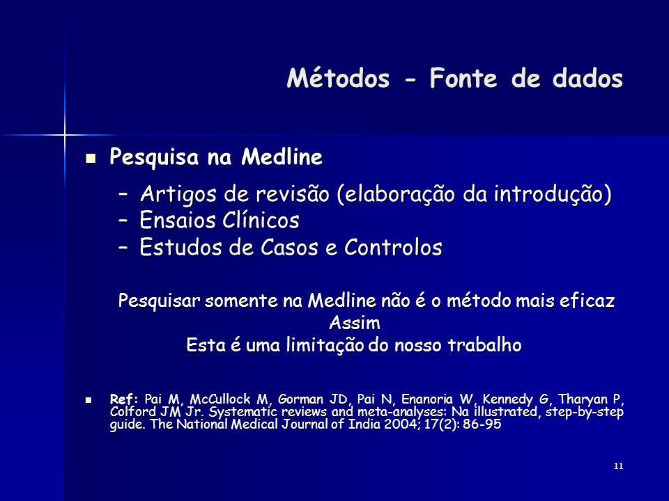 11 Métodos - Fonte de dados Métodos - Fonte de dados Pesquisa na Medline Pesquisa na Medline –Artigos de revisão (elaboração da introdução) –Ensaios C