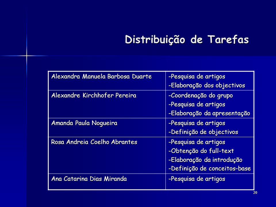 20 Distribuição de Tarefas Alexandra Manuela Barbosa Duarte -Pesquisa de artigos -Elaboração dos objectivos Alexandre Kirchhofer Pereira -Coordenação
