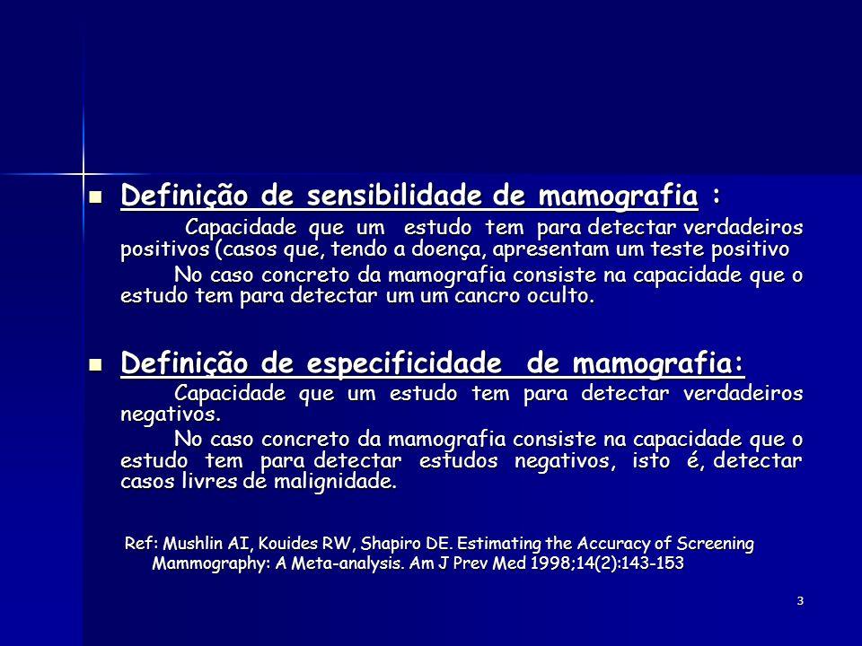 3 Definição de sensibilidade de mamografia : Definição de sensibilidade de mamografia : Capacidade que um estudo tem para detectar verdadeiros positiv