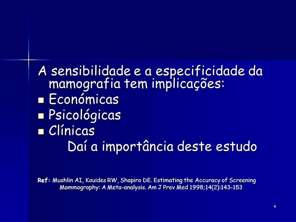 4 A sensibilidade e a especificidade da mamografia tem implicações: Económicas Económicas Psicológicas Psicológicas Clínicas Clínicas Daí a importânci