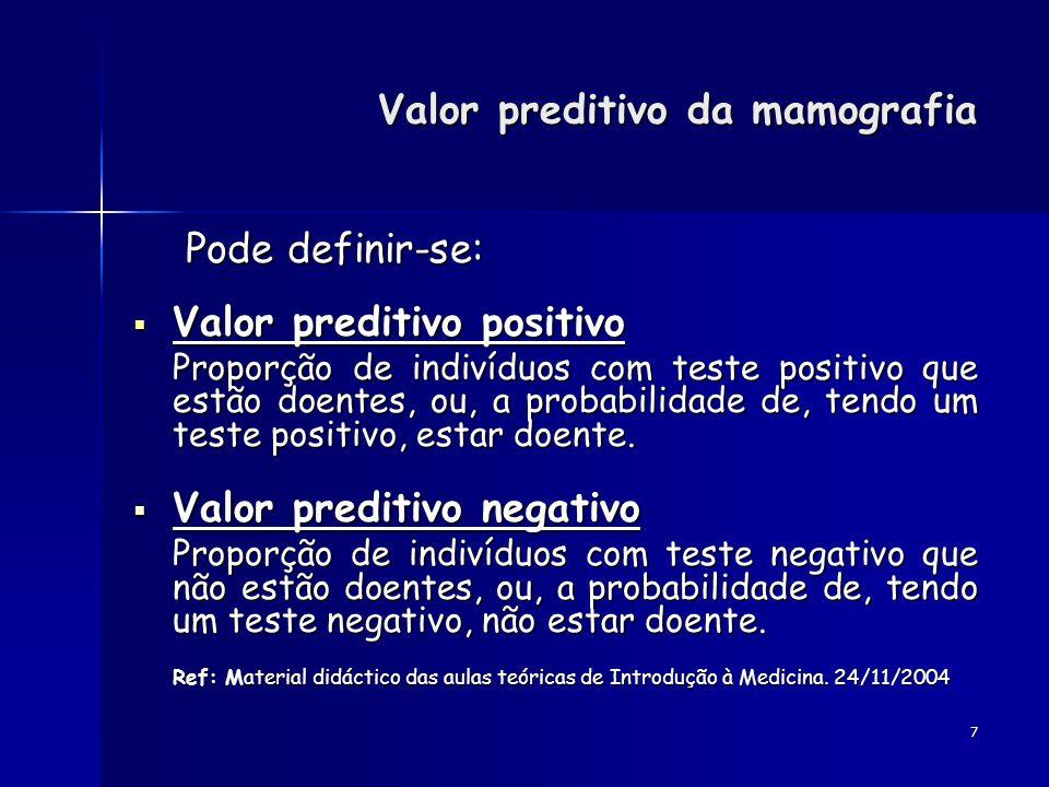 7 Pode definir-se: Pode definir-se: Valor preditivo positivo Valor preditivo positivo Proporção de indivíduos com teste positivo que estão doentes, ou