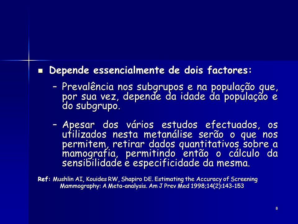 8 Depende essencialmente de dois factores: Depende essencialmente de dois factores: –Prevalência nos subgrupos e na população que, por sua vez, depend