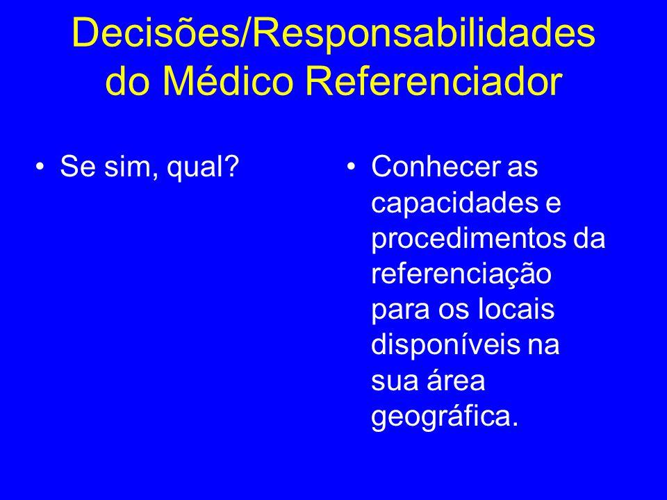 Se sim, qual?Conhecer as capacidades e procedimentos da referenciação para os locais disponíveis na sua área geográfica. Decisões/Responsabilidades do