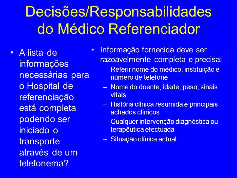 A lista de informações necessárias para o Hospital de referenciação está completa podendo ser iniciado o transporte através de um telefonema? Informaç