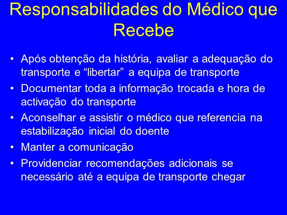 Responsabilidades do Médico que Recebe Após obtenção da história, avaliar a adequação do transporte e libertar a equipa de transporte Documentar toda