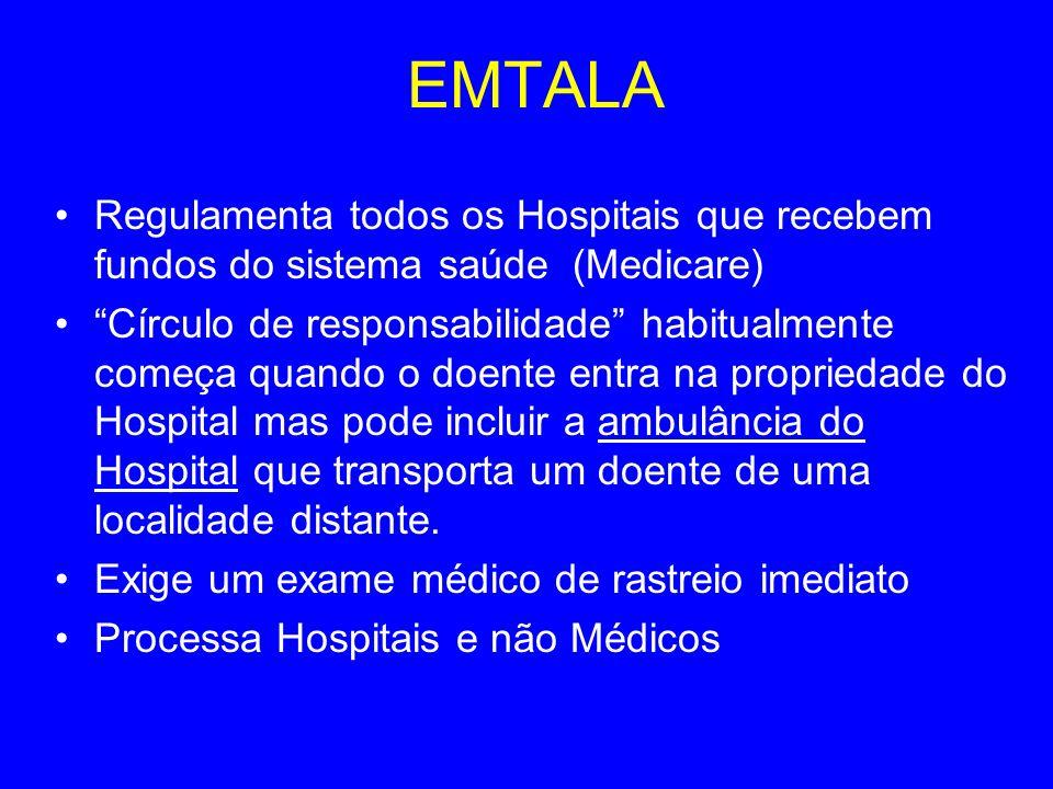 EMTALA Regulamenta todos os Hospitais que recebem fundos do sistema saúde (Medicare) Círculo de responsabilidade habitualmente começa quando o doente