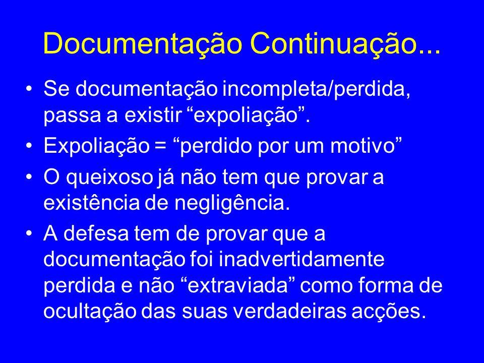 Documentação Continuação... Se documentação incompleta/perdida, passa a existir expoliação. Expoliação = perdido por um motivo O queixoso já não tem q