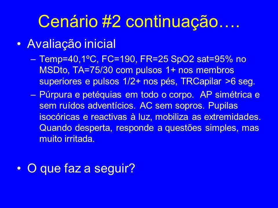Cenário #2 continuação…. Avaliação inicial –Temp=40,1ºC, FC=190, FR=25 SpO2 sat=95% no MSDto, TA=75/30 com pulsos 1+ nos membros superiores e pulsos 1