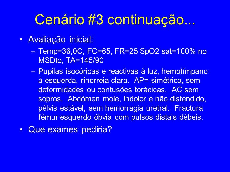 Cenário #3 continuação... Avaliação inicial: –Temp=36,0C, FC=65, FR=25 SpO2 sat=100% no MSDto, TA=145/90 –Pupilas isocóricas e reactivas à luz, hemotí