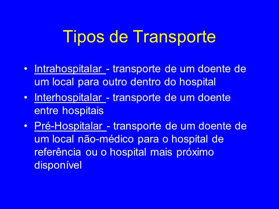 Tipos de Transporte Intrahospitalar - transporte de um doente de um local para outro dentro do hospital Interhospitalar - transporte de um doente entr