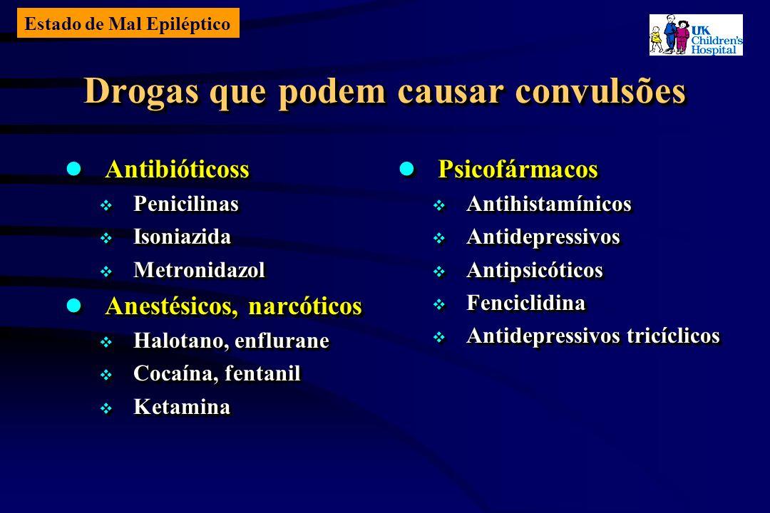 Estado de Mal Epiléptico Drogas que podem causar convulsões Antibióticoss Antibióticoss Penicilinas Penicilinas Isoniazida Isoniazida Metronidazol Metronidazol Anestésicos, narcóticos Anestésicos, narcóticos Halotano, enflurane Halotano, enflurane Cocaína, fentanil Cocaína, fentanil Ketamina Ketamina Antibióticoss Antibióticoss Penicilinas Penicilinas Isoniazida Isoniazida Metronidazol Metronidazol Anestésicos, narcóticos Anestésicos, narcóticos Halotano, enflurane Halotano, enflurane Cocaína, fentanil Cocaína, fentanil Ketamina Ketamina Psicofármacos Psicofármacos Antihistamínicos Antihistamínicos Antidepressivos Antidepressivos Antipsicóticos Antipsicóticos Fenciclidina Fenciclidina Antidepressivos tricíclicos Antidepressivos tricíclicos