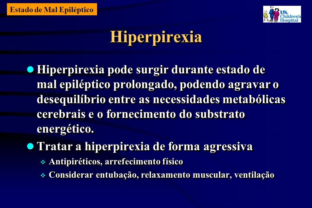 Estado de Mal Epiléptico HiperpirexiaHiperpirexia Hiperpirexia pode surgir durante estado de mal epiléptico prolongado, podendo agravar o desequilíbrio entre as necessidades metabólicas cerebrais e o fornecimento do substrato energético.