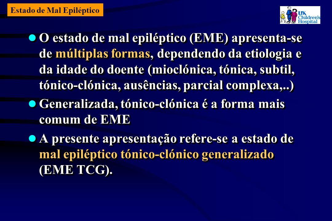 Estado de Mal Epiléptico O estado de mal epiléptico (EME) apresenta-se de múltiplas formas, dependendo da etiologia e da idade do doente (mioclónica, tónica, subtil, tónico-clónica, ausências, parcial complexa,..) O estado de mal epiléptico (EME) apresenta-se de múltiplas formas, dependendo da etiologia e da idade do doente (mioclónica, tónica, subtil, tónico-clónica, ausências, parcial complexa,..) Generalizada, tónico-clónica é a forma mais comum de EME Generalizada, tónico-clónica é a forma mais comum de EME A presente apresentação refere-se a estado de mal epiléptico tónico-clónico generalizado (EME TCG).
