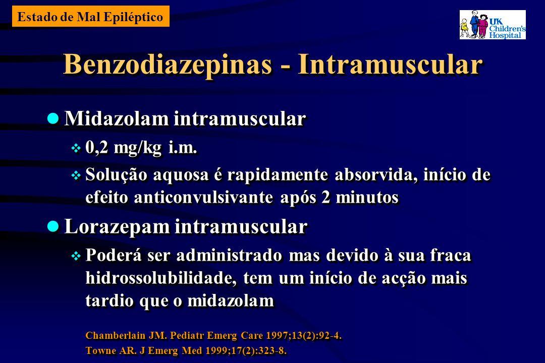 Estado de Mal Epiléptico Benzodiazepinas - Intramuscular Midazolam intramuscular Midazolam intramuscular 0,2 mg/kg i.m.