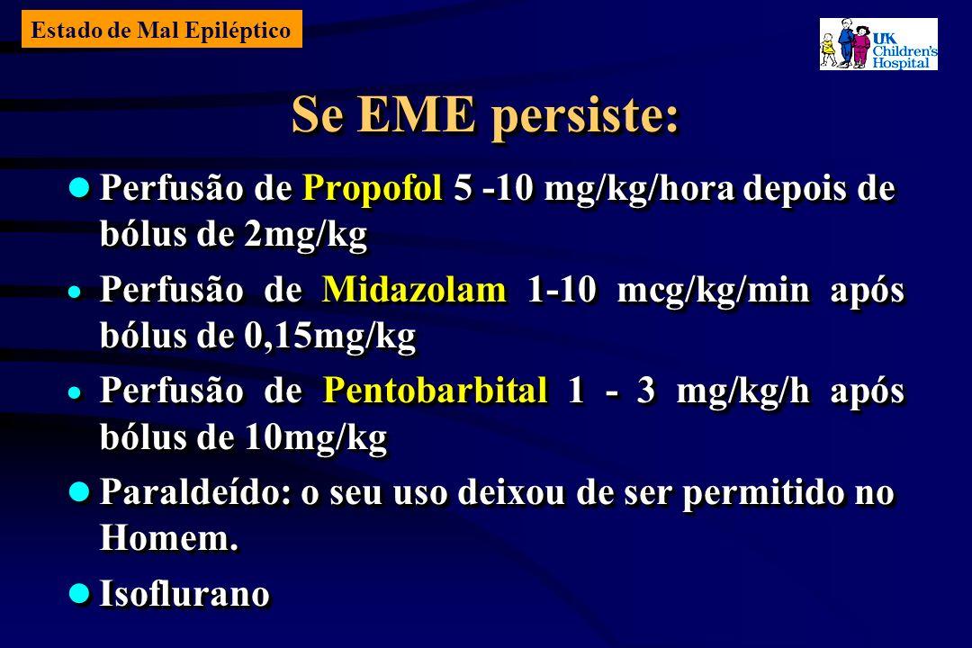 Estado de Mal Epiléptico Se EME persiste: Perfusão de Propofol 5 -10 mg/kg/hora depois de bólus de 2mg/kg Perfusão de Propofol 5 -10 mg/kg/hora depois de bólus de 2mg/kg Perfusão de Midazolam 1-10 mcg/kg/min após bólus de 0,15mg/kg Perfusão de Midazolam 1-10 mcg/kg/min após bólus de 0,15mg/kg Perfusão de Pentobarbital 1 - 3 mg/kg/h após bólus de 10mg/kg Perfusão de Pentobarbital 1 - 3 mg/kg/h após bólus de 10mg/kg Paraldeído: o seu uso deixou de ser permitido no Homem.